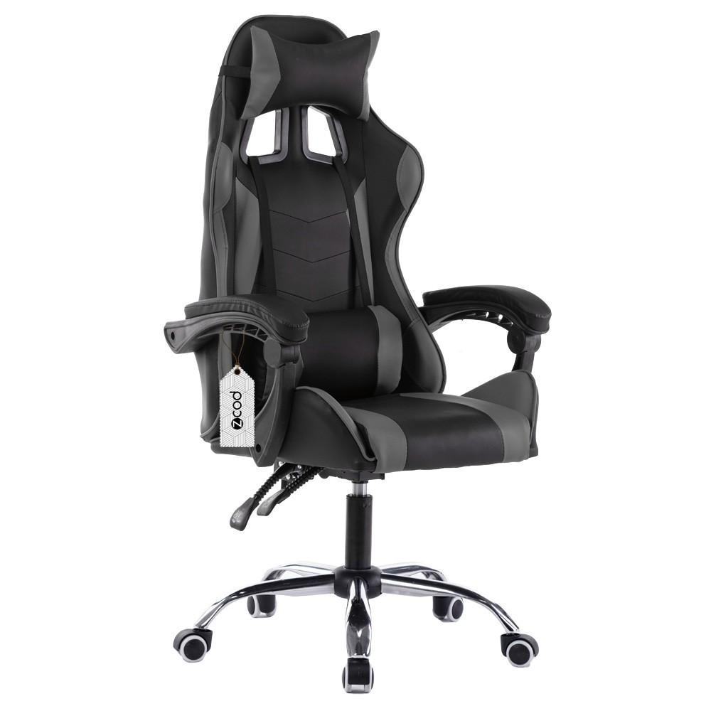 Cadeira gamer reclinável em 70° com ajuste lombar cinza V702