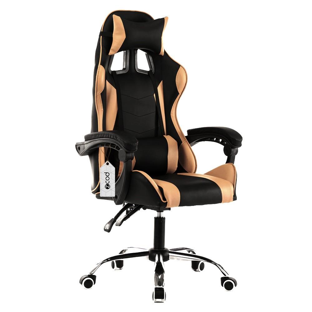 Cadeira Gamer Escritório Ajuste Lombar Reclinável Em 70º Gaming Dourada V708