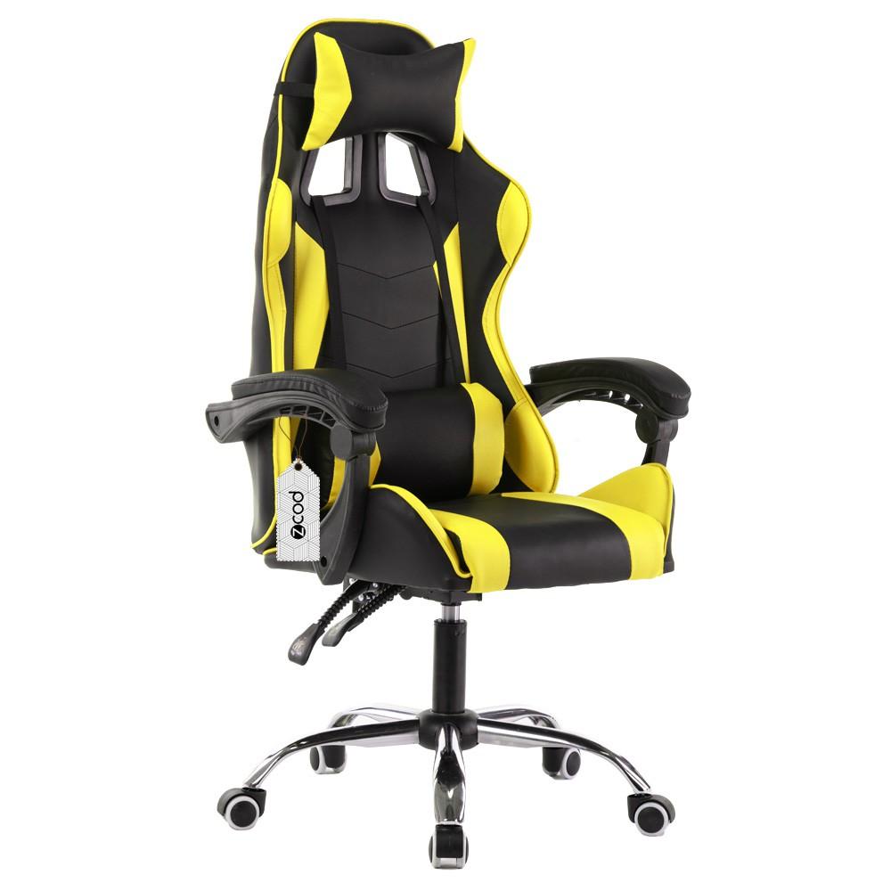 Cadeira gamer reclinável em 120° com ajuste lombar amarelo V709
