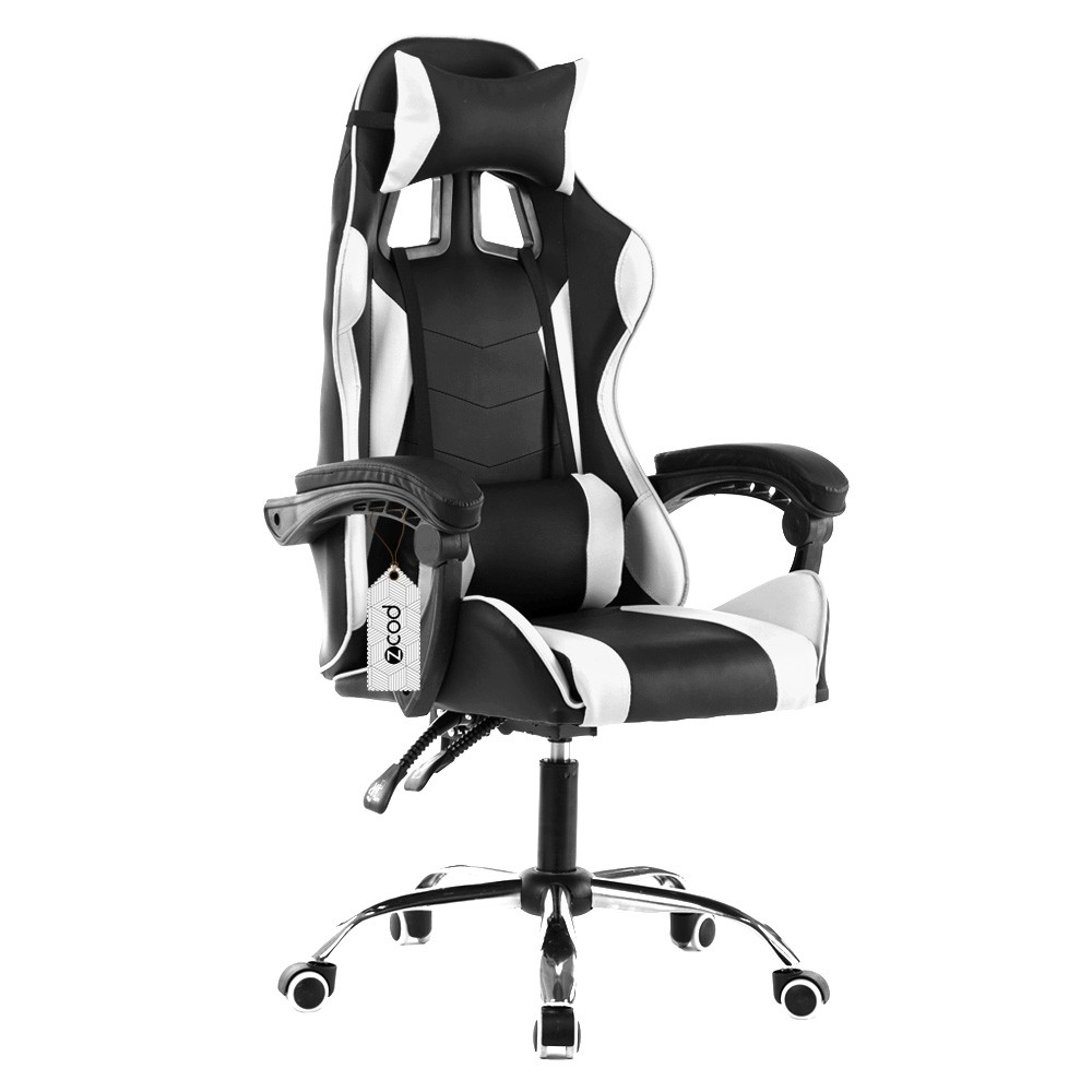 Cadeira gamer reclinável em 70° com ajuste lombar preto e branco V707