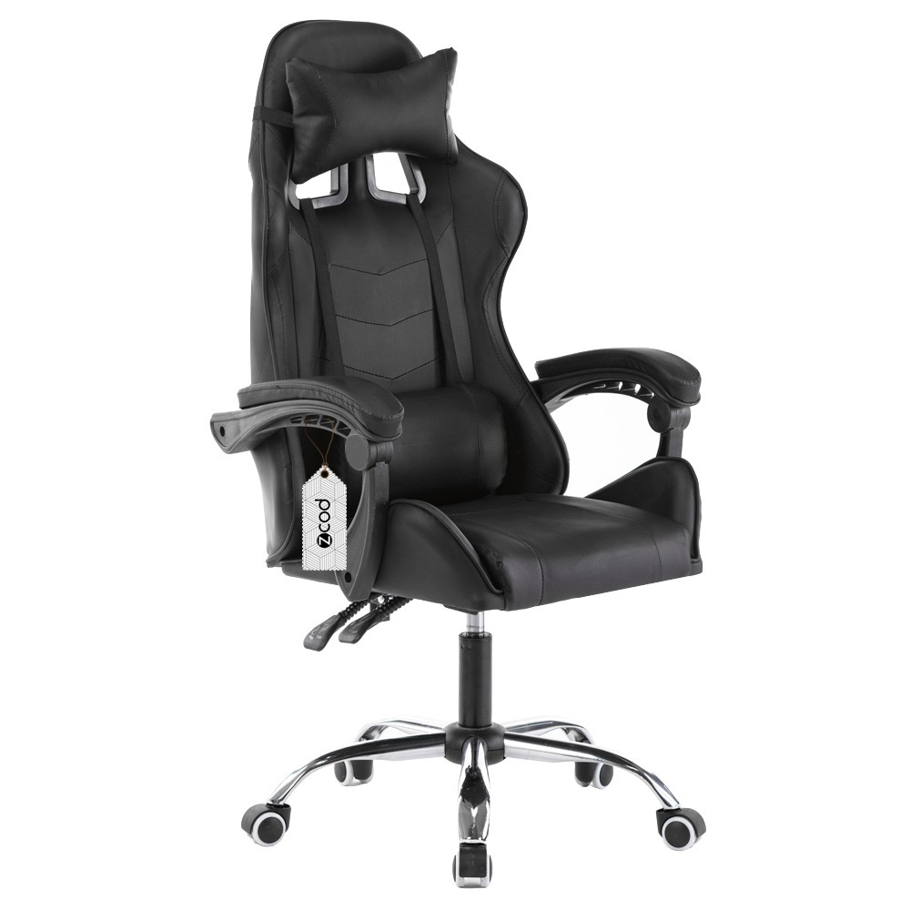 Cadeira gamer reclinável em 70° com ajuste lombar preto V701