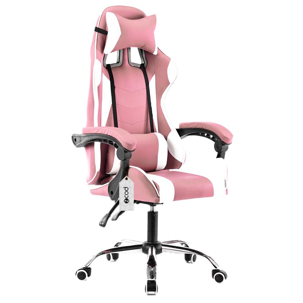 Cadeira gamer reclinável em 70° com ajuste lombar rosa  V710