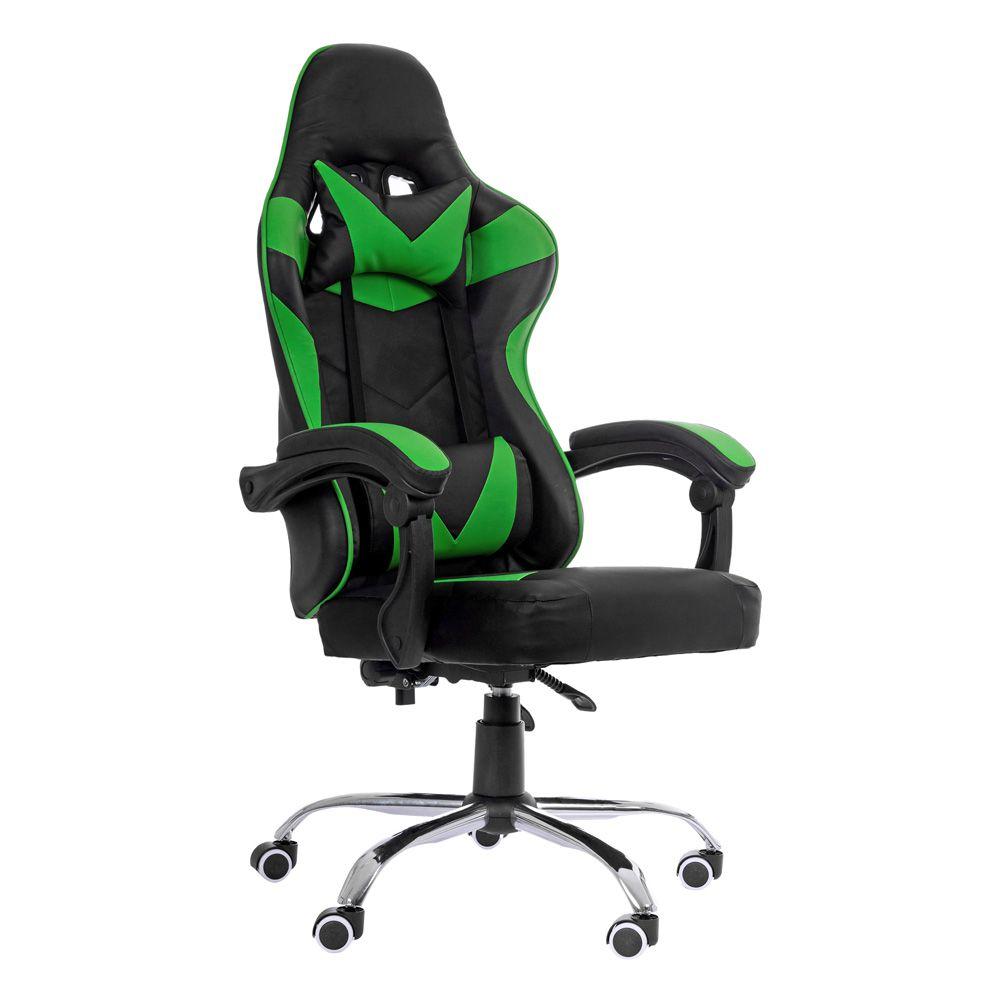 Cadeira Gamer Escritório Ajuste Lombar Reclinável Em 70º Gaming Verde K-C504