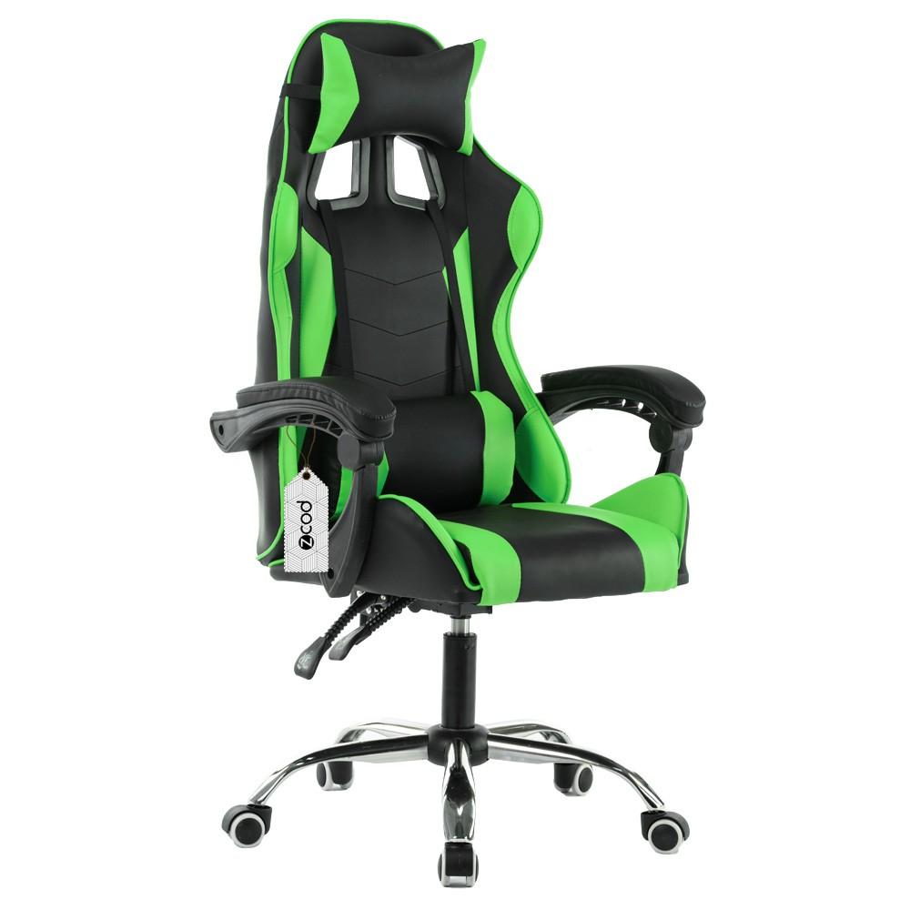 Cadeira gamer reclinável em 120° com ajuste lombar verde V704