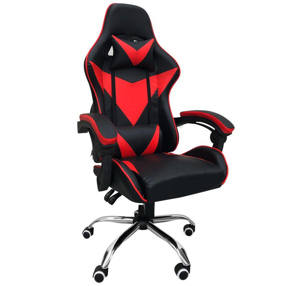 Cadeira Gamer Escritório Ajuste Lombar Reclinável Em 70º Gaming Vermelho K-C502
