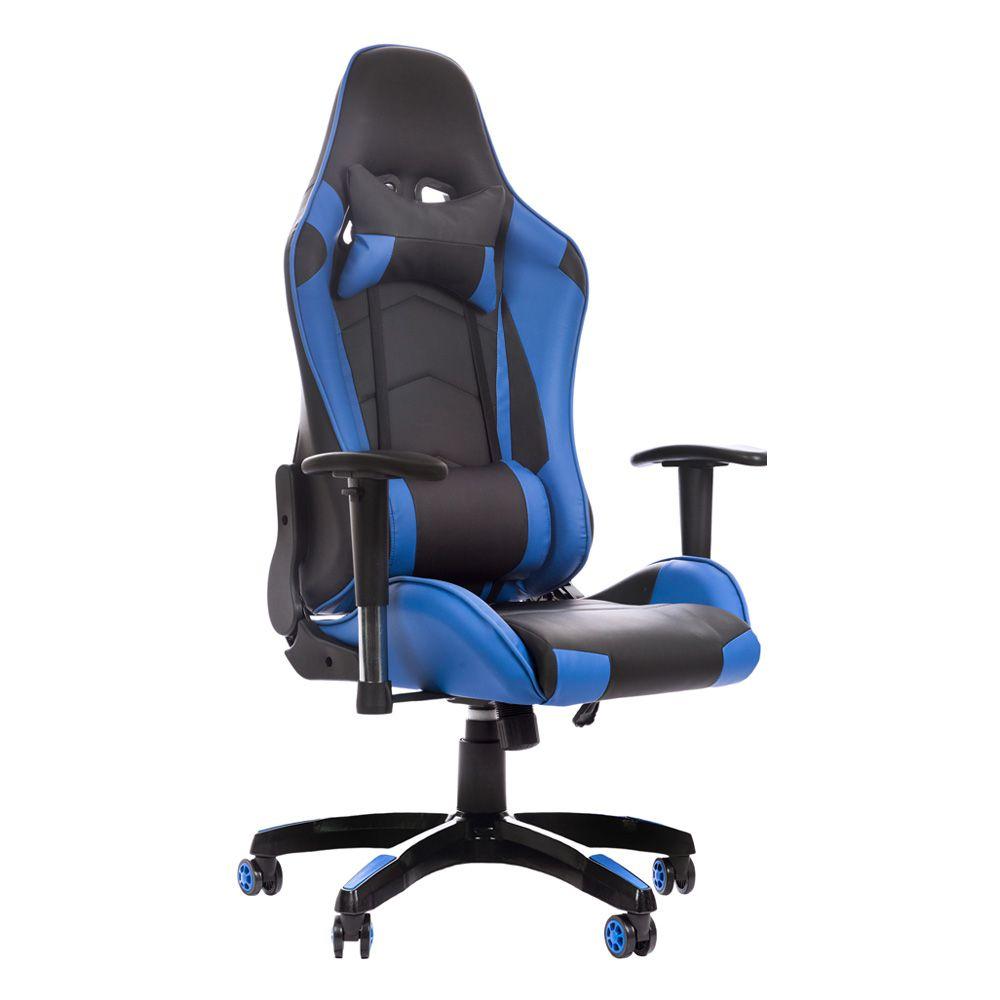 Cadeira Gamer Gaming Escritório Ajuste Lombar Reclinável Em 180º Azul K-C513