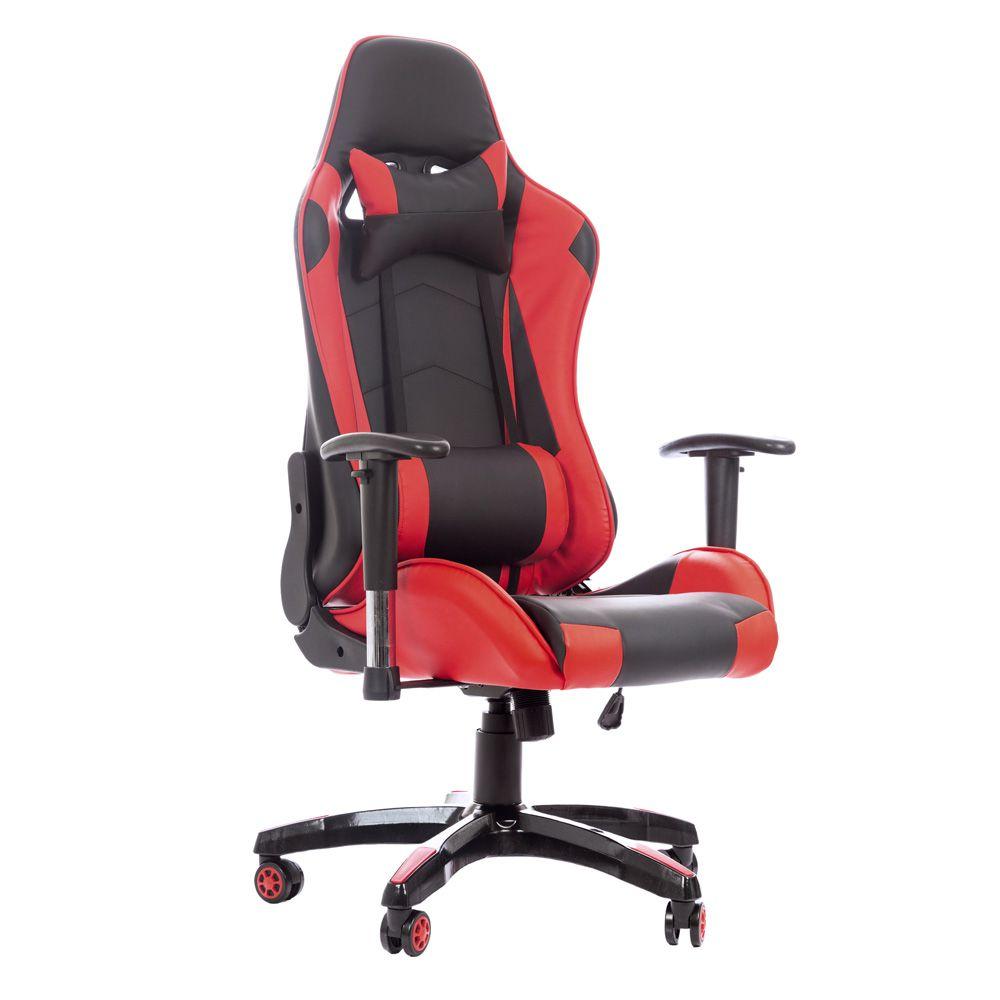Cadeira Gamer Gaming Escritório Ajuste Lombar Reclinável Em 180º Vermelho K-C512
