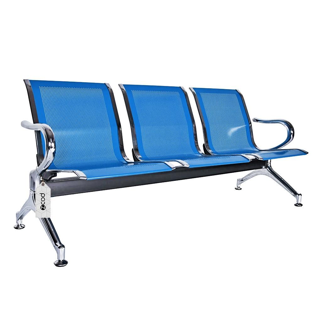 Cadeira Longarina 3 Assentos Lugares Espera Azul V935