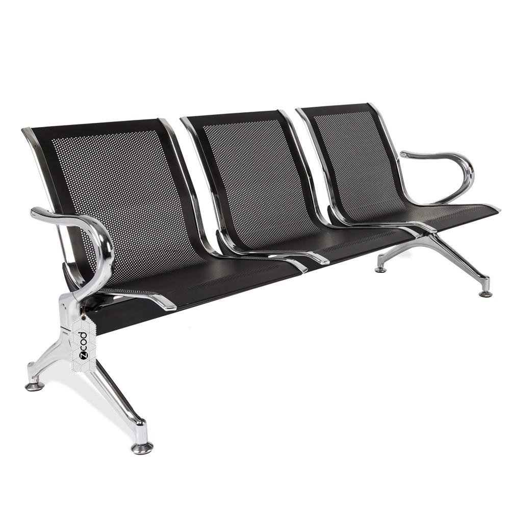 Cadeira Longarina 3 Assentos Lugares Espera Preta V933
