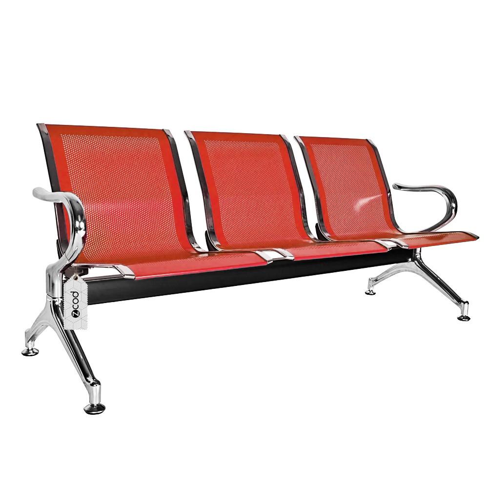 Cadeira Longarina 3 Assentos Lugares Espera Vermelha V937