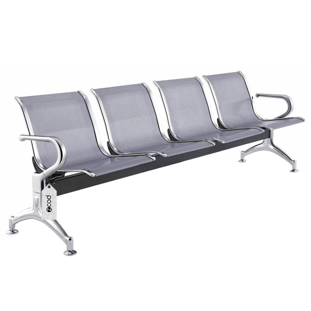 Cadeira longarina 4 assentos lugares cinza espera aeroporto V951