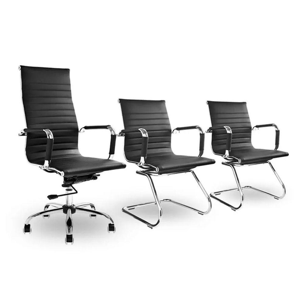 Conjunto Kit 1 Cadeira Presidente e 2 Cadeiras Interlocutores Preta