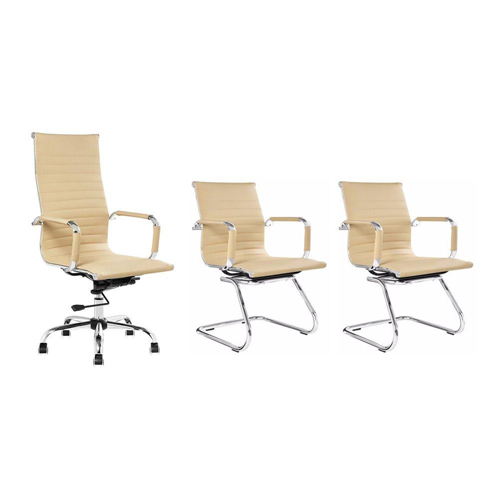 Conjunto kit 1 cadeira presidente e 2 cadeiras interlocutores bege
