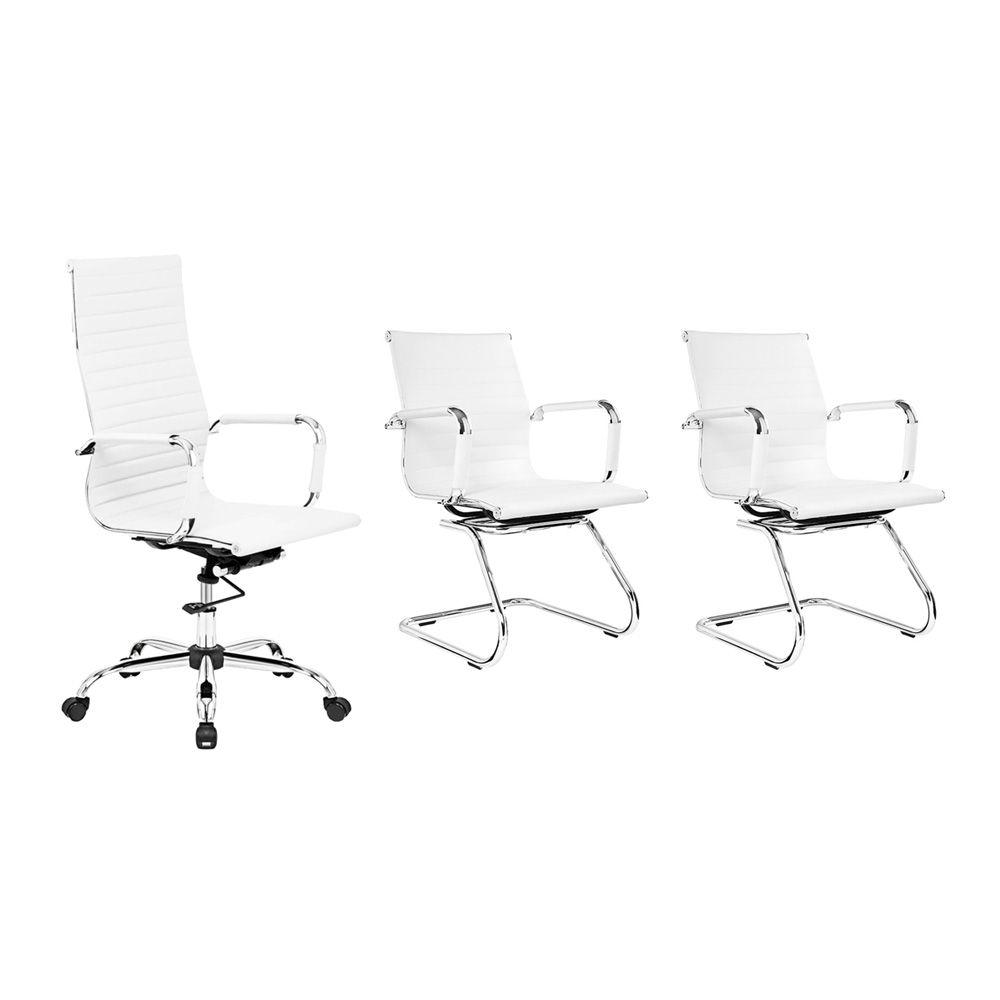 Conjunto kit 1 cadeira presidente e 2 cadeiras interlocutores branca