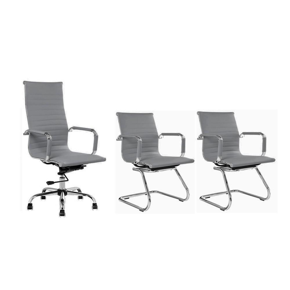 Conjunto kit 1 cadeira presidente e 2 cadeiras interlocutores cinza