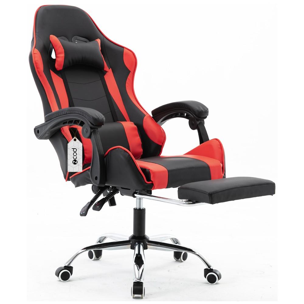Cadeira gamer com apoio retrátil para os pés reclinável em 120° vermelha V7003p