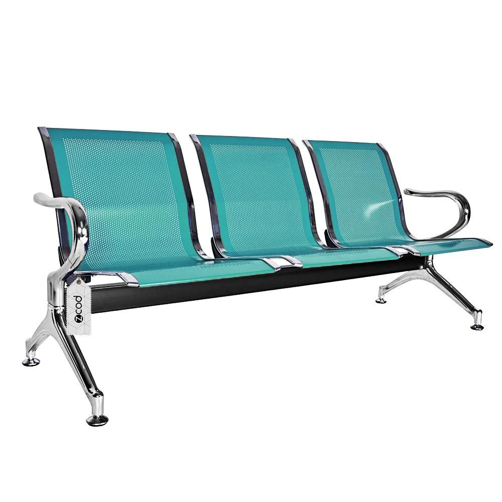 Cadeira longarina 3 assentos lugares espera verde V939