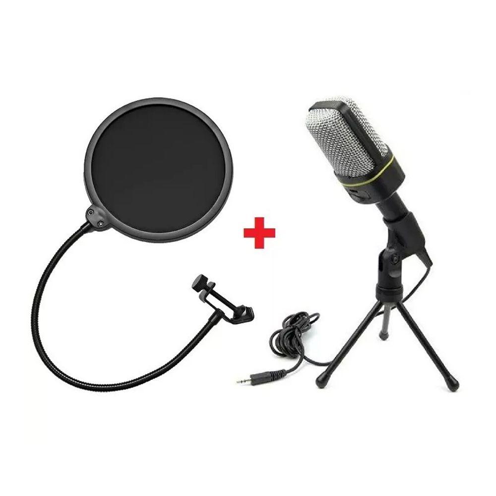 Microfone Estúdio Gravação SF-920 + Mini Tripé + Pop Filter Kelter