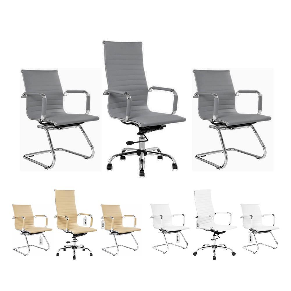 Kit 1 cadeira escritório com rodinhas + 2 cadeiras interlocutor couro pu cores