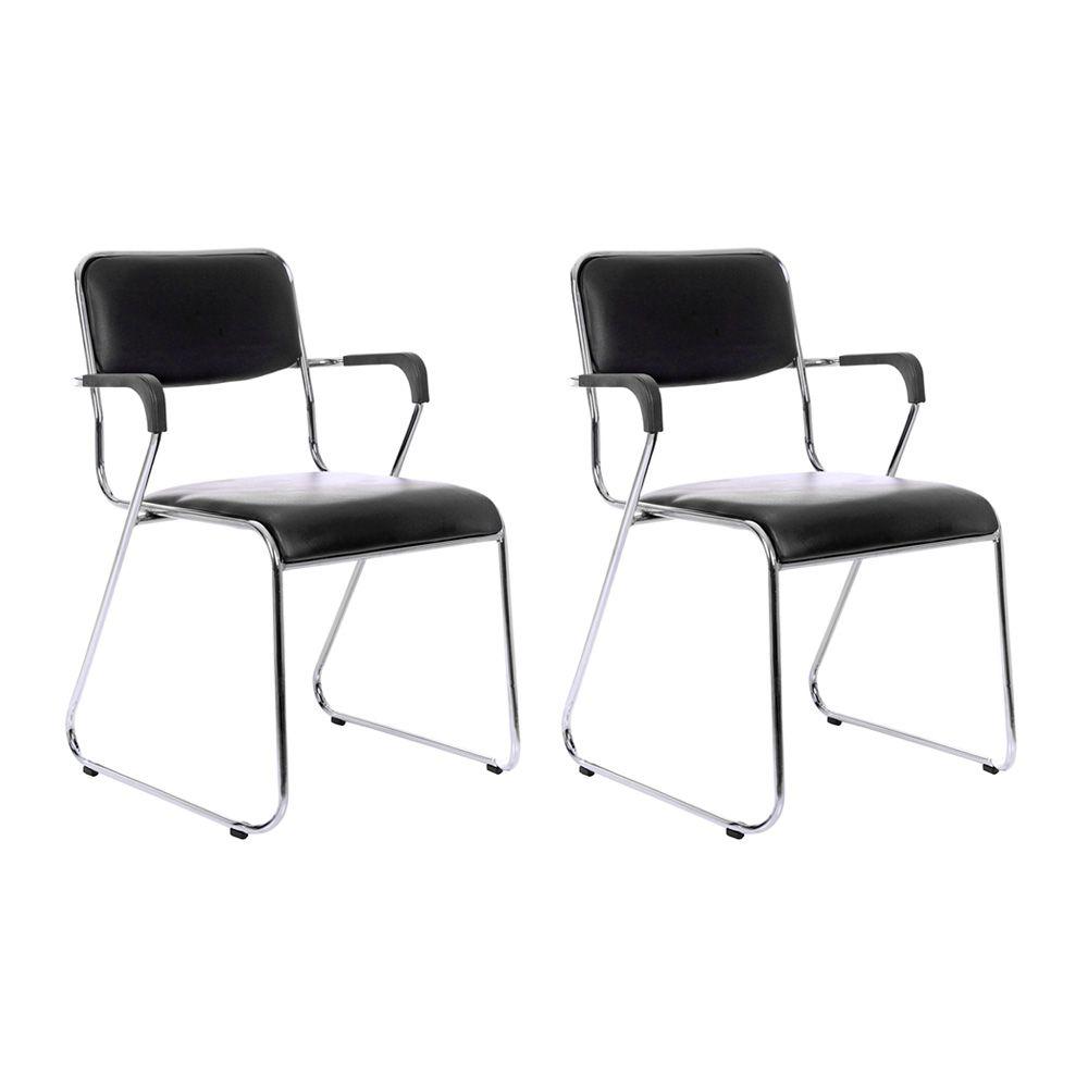 Kit 2 cadeiras com braços interlocutor empilhável de escritório fixa V202