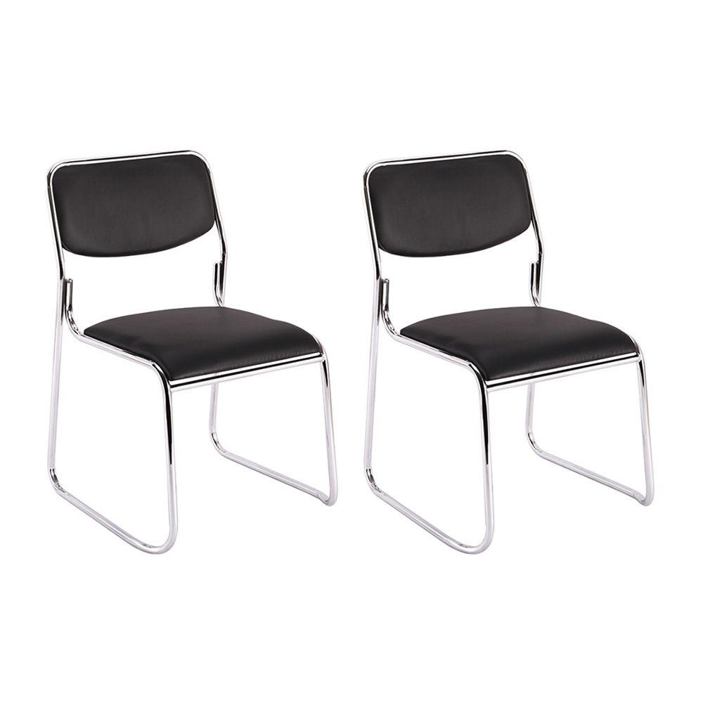 Kit 2 cadeiras de escritório interlocutor empilhável sem braços fixa V201