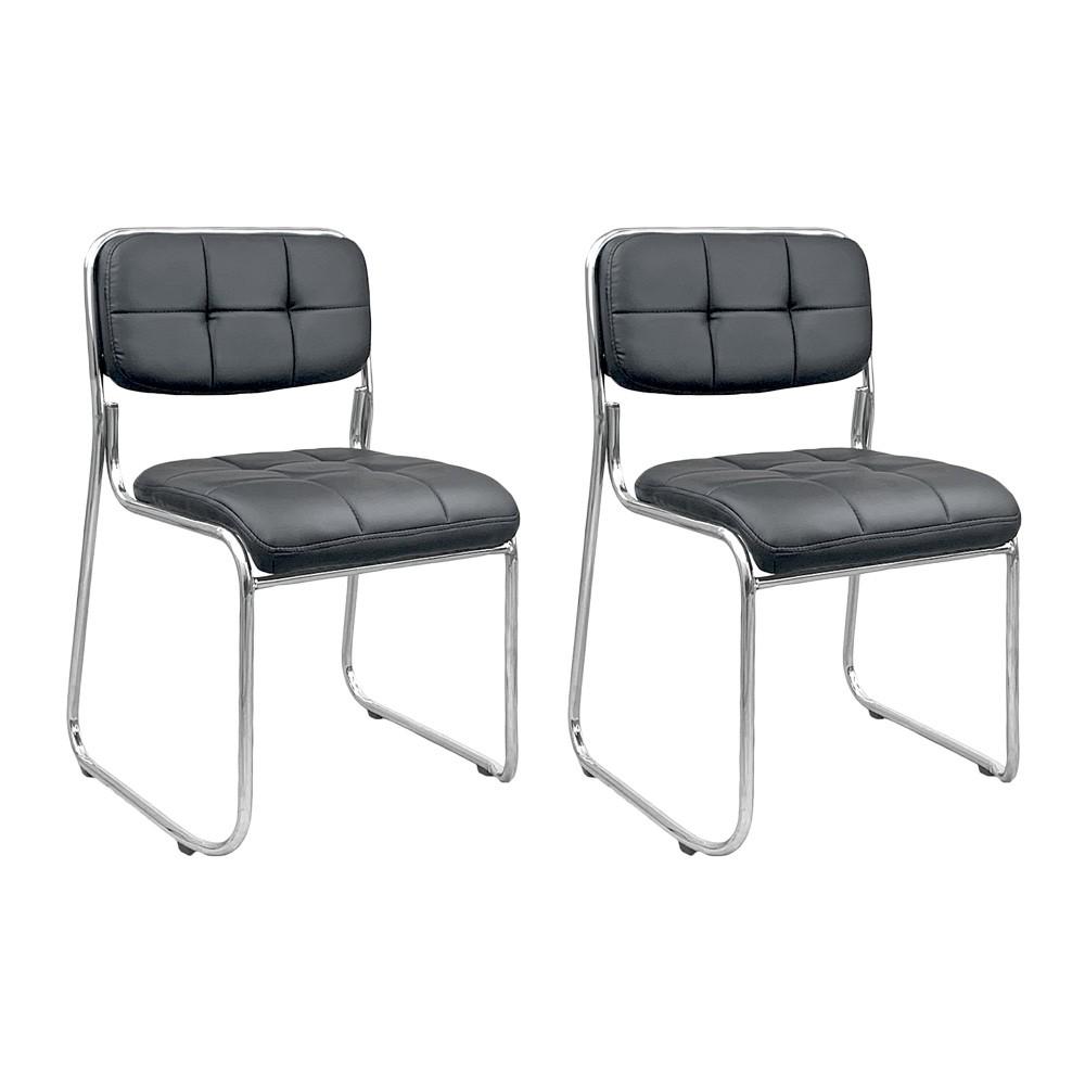 Kit 2 cadeiras de escritório interlocutor estofada empilhável fixa V203