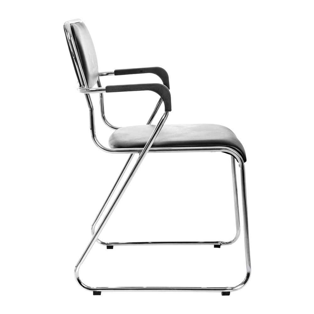 Kit 3 Cadeiras Com Braços Interlocutor Empilhável De Escritório Fixa K-C304