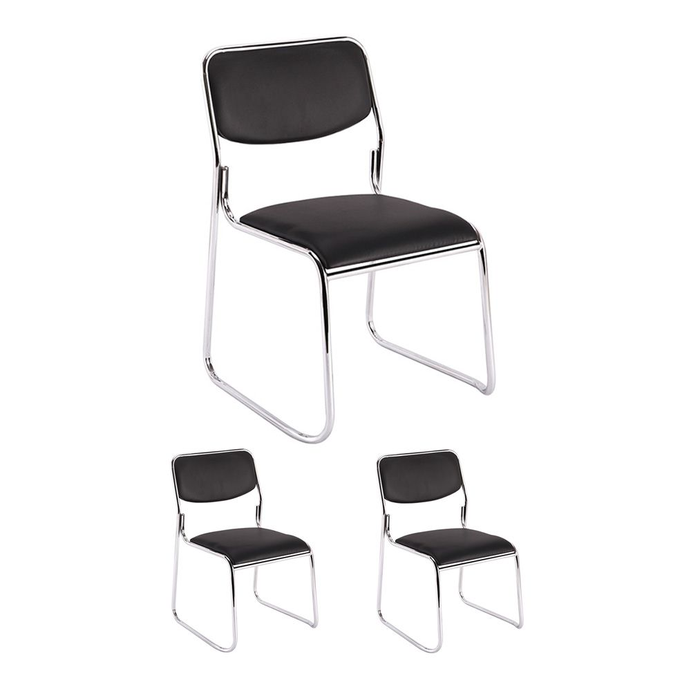 Kit 3 cadeiras de escritório interlocutor empilhável sem braços fixa V201