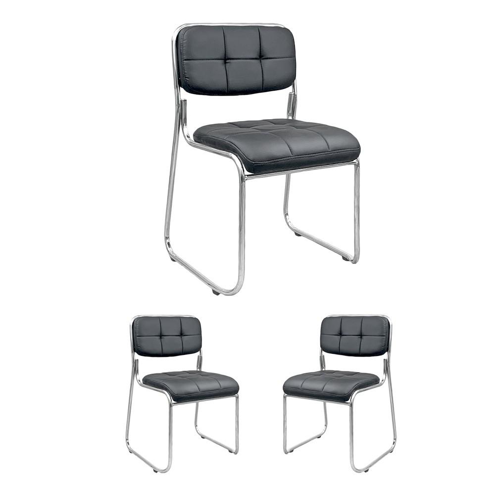 Kit 3 cadeiras de escritório interlocutor estofada empilhável fixa V203