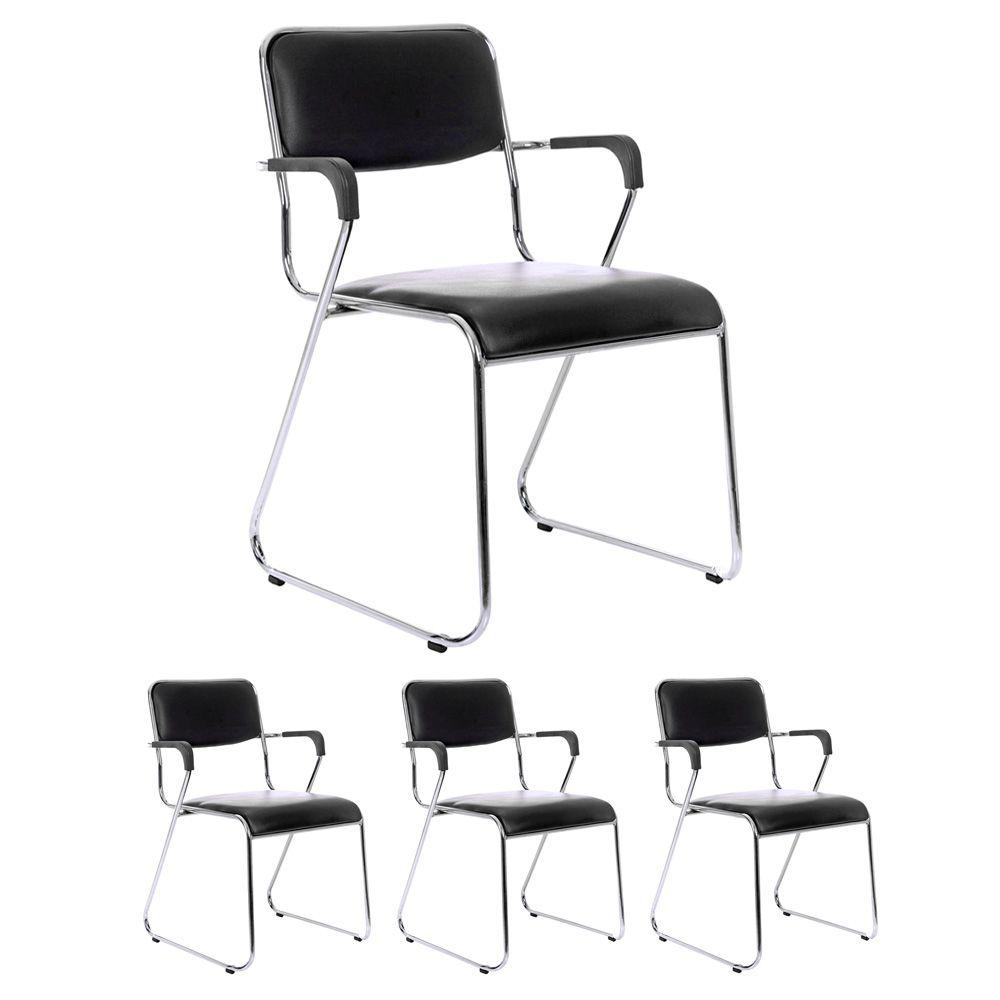 Kit 4 cadeiras com braços interlocutor empilhável de escritório fixa V202