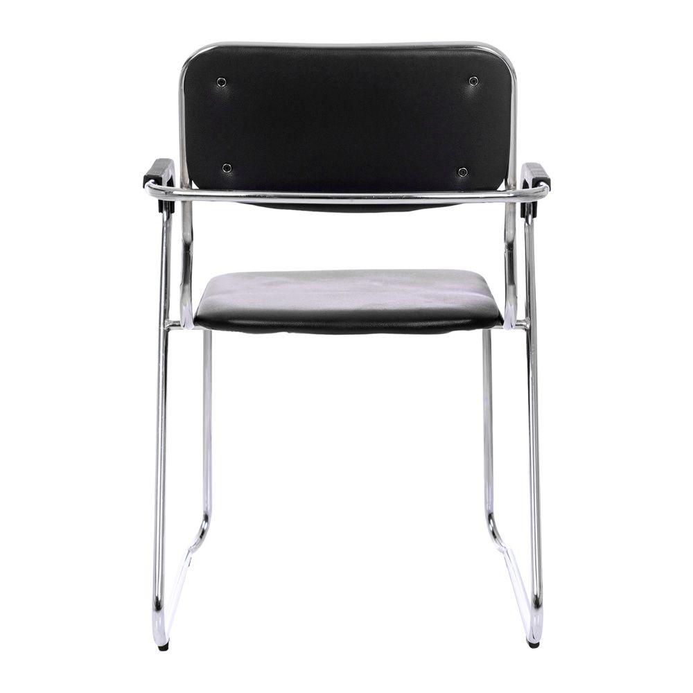 Kit 4 Cadeiras Com Braços Interlocutor Empilhável De Escritório Fixa K-C304