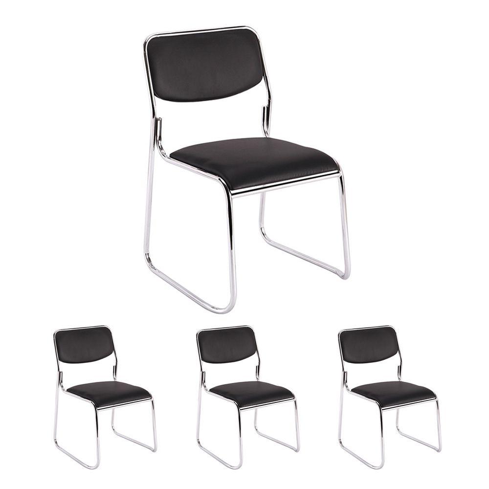 Kit 4 cadeiras de escritório interlocutor empilhável sem braços fixa V201