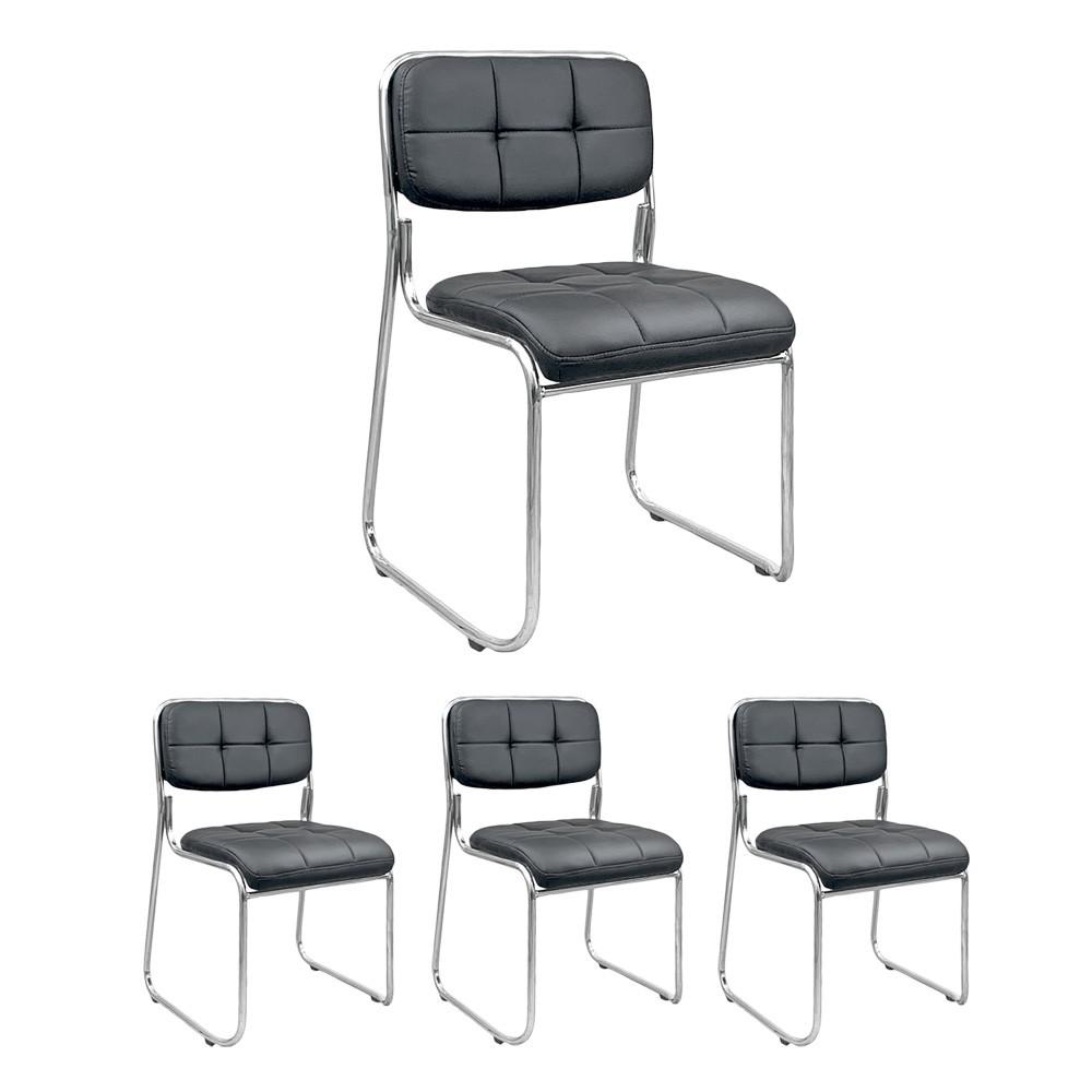 Kit 4 cadeiras de escritório interlocutor estofada empilhável fixa V203