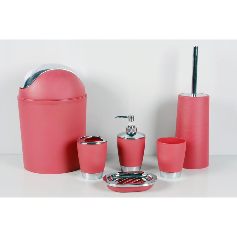 Kit 6 Peças Lavabo Banheiro Lixeira Porta Escova Sabonete Liquido