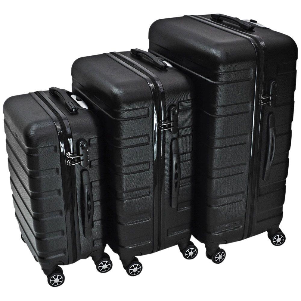 Kit com 3 Malas de Viagem Rígidas em ABS 360