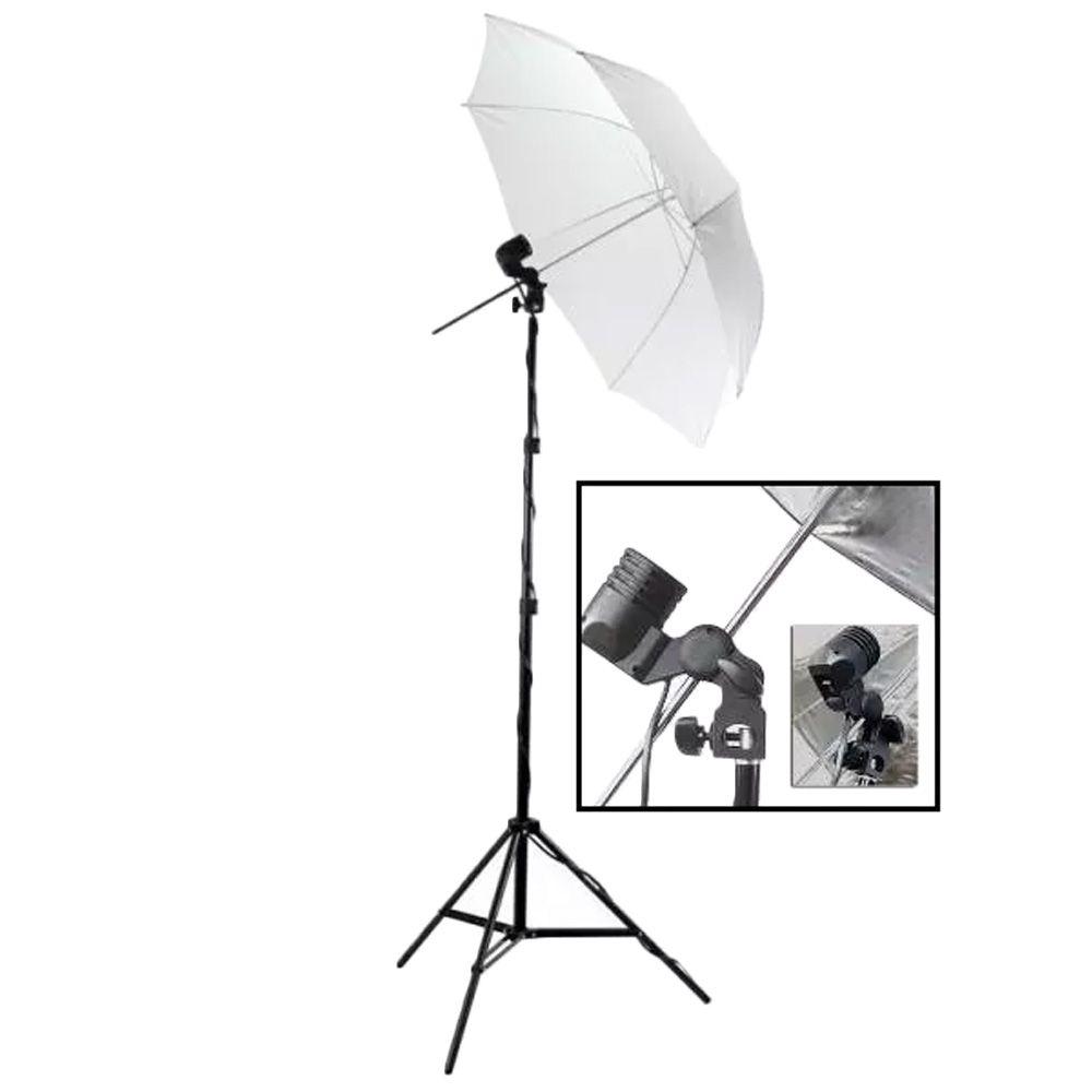 Kit Estúdio Fotográfico Com Tripé + Sombrinha Difusora + Soquete Simples