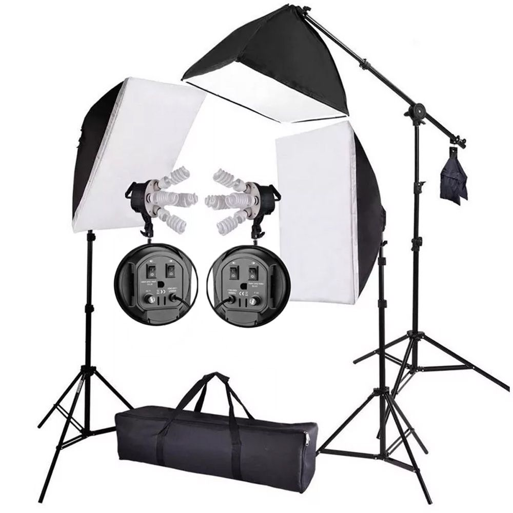 Kit Iluminação Estúdio Profissional Softbox 90x60 e 70x50 Girafa