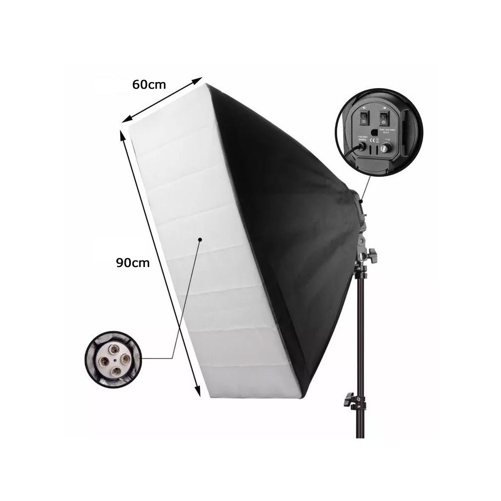 Kit Iluminação Estúdio Profissional Softbox 90x60 e Girafa 70x50