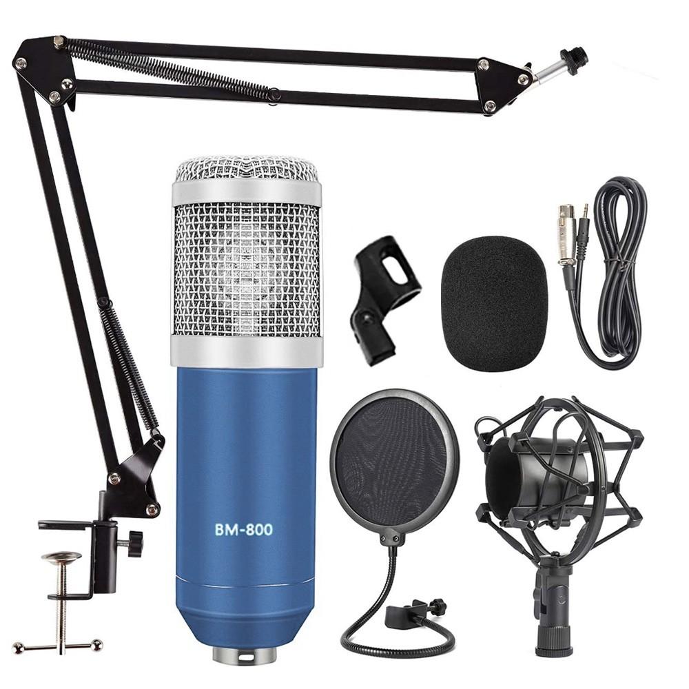 Kit Microfone BM800 Azul Com Braço e Pop Filter BM-800