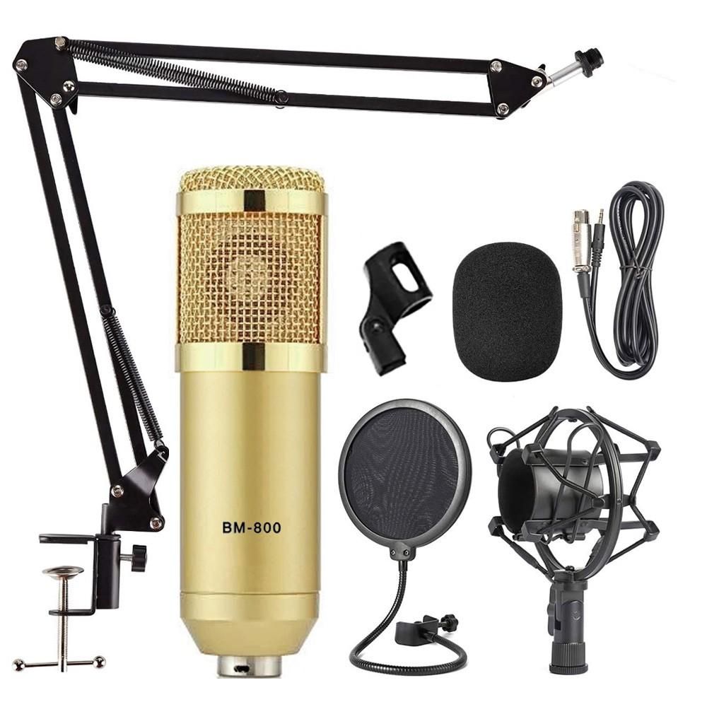 Kit Microfone BM800 Dourado Com Braço e Pop Filter BM-800