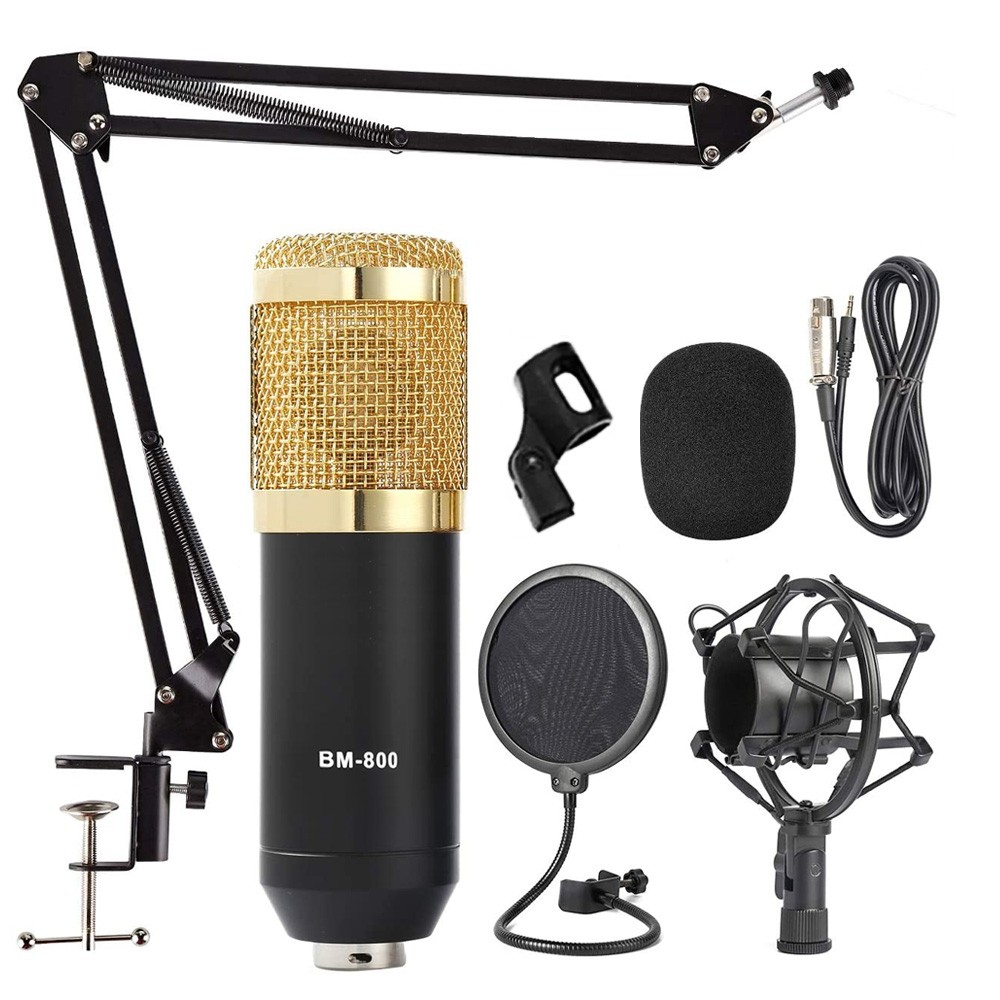 Kit microfone BM800 preto com braço e pop filter