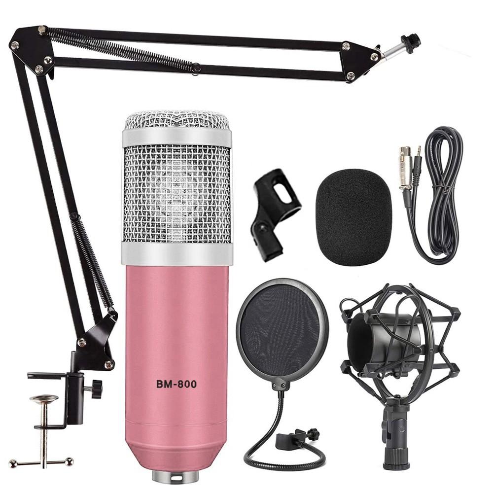 Kit Microfone BM800 Rosa Com Braço e Pop Filter BM-800
