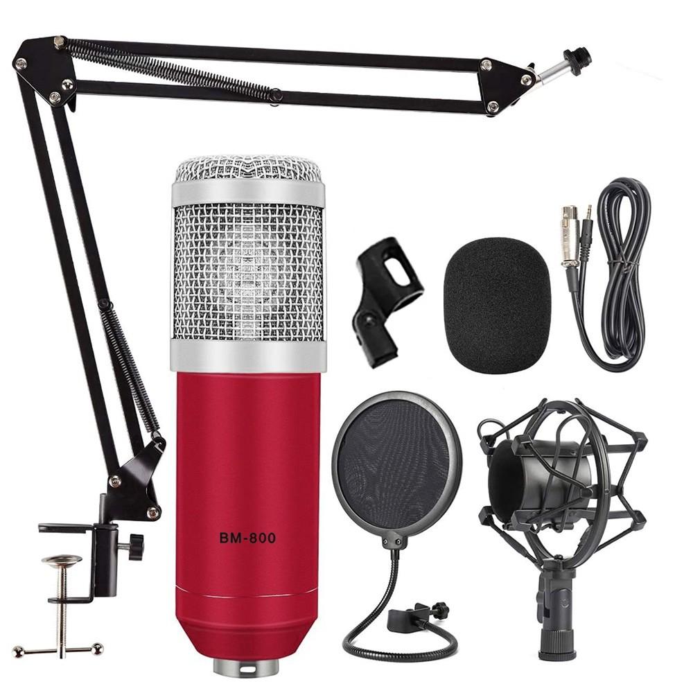 Kit microfone BM800 vermelho com braço e pop filter