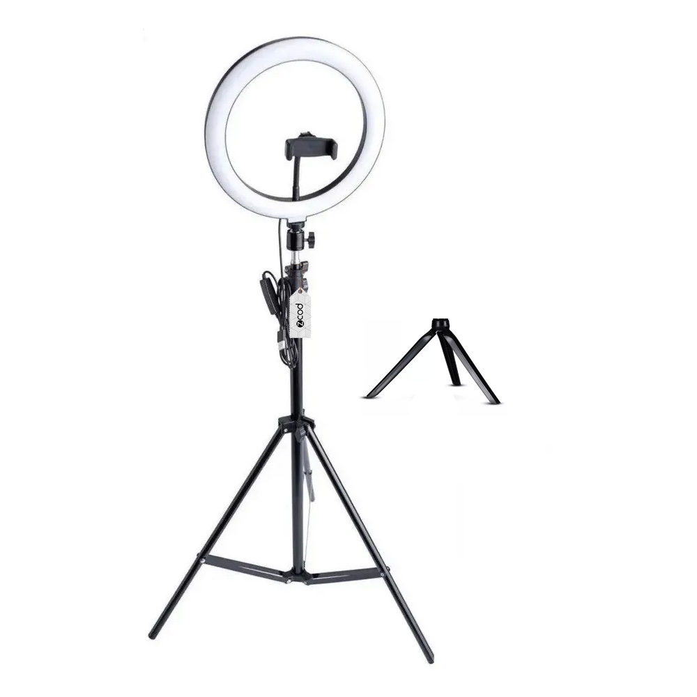 Kit Ring Light Zcod De 26cm + Tripé + Mini Tripé De Mesa BV620501