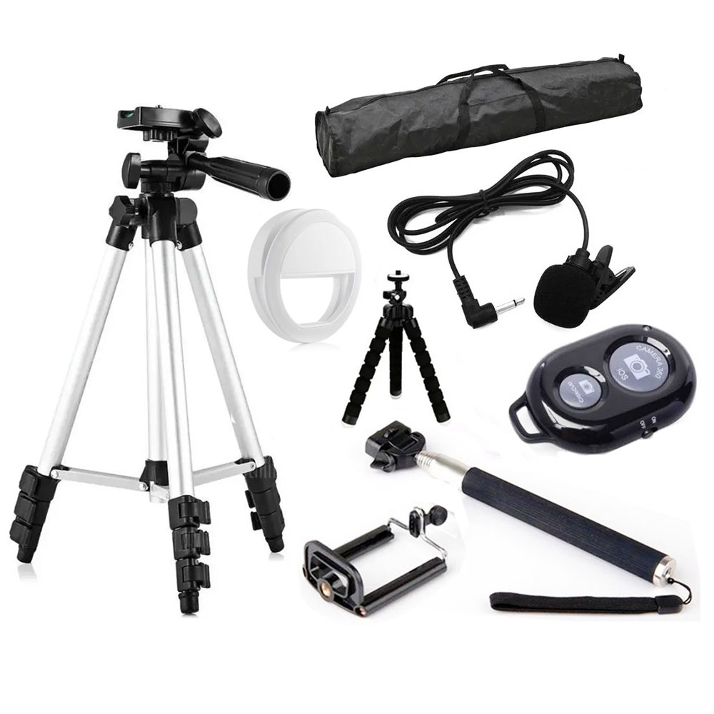 Kit youtuber tripé bastão selfie ring light bluetooth BV10+BV66