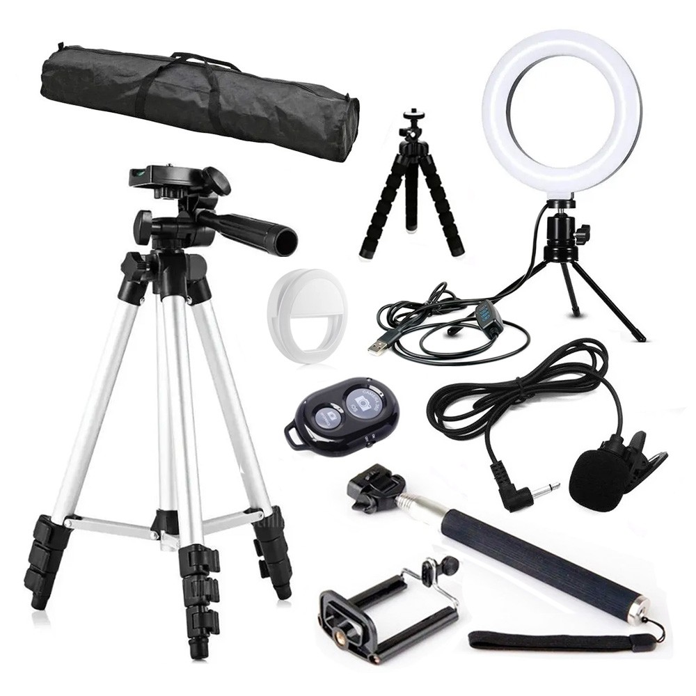 Kit youtuber tripé celular selfie ring light 16cm microfone BV10+BV61+BV66