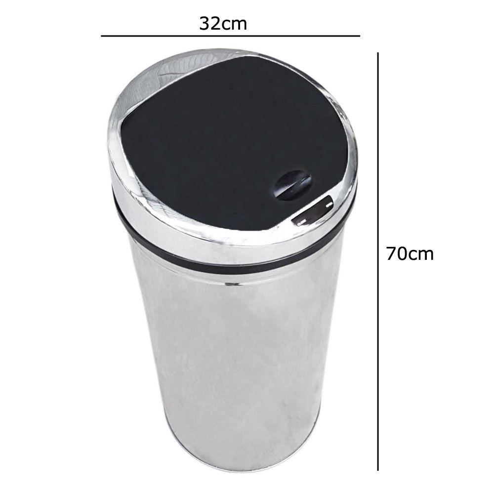Lixeira Inox Automática De 50 Litros Com Sensor 50L