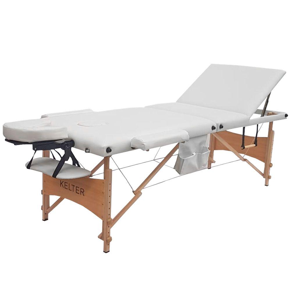 Mesa Maca De Massagem Divã Dobrável Encosto Regulável Branca Kelter KM111