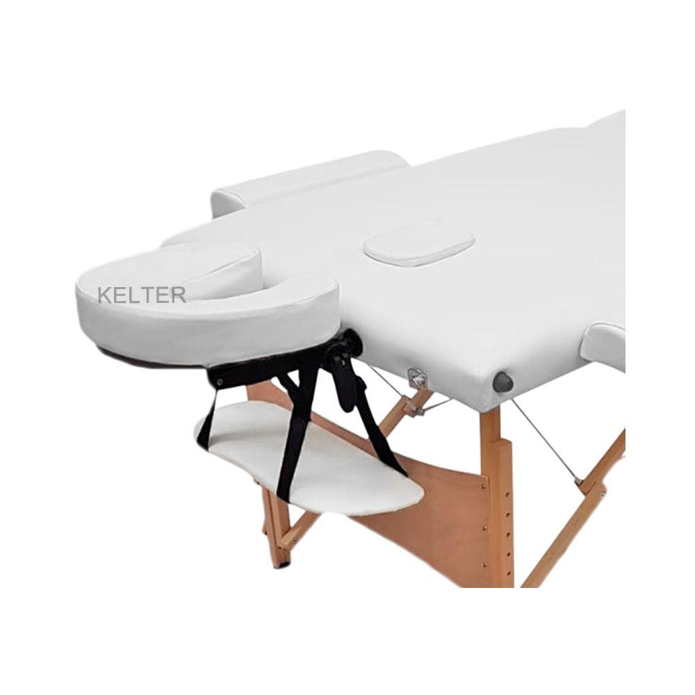 Mesa (Maca) De Massagem Dobrável Com Encosto Regulável, Orificio e Regulagem De Altura Branca K-M111
