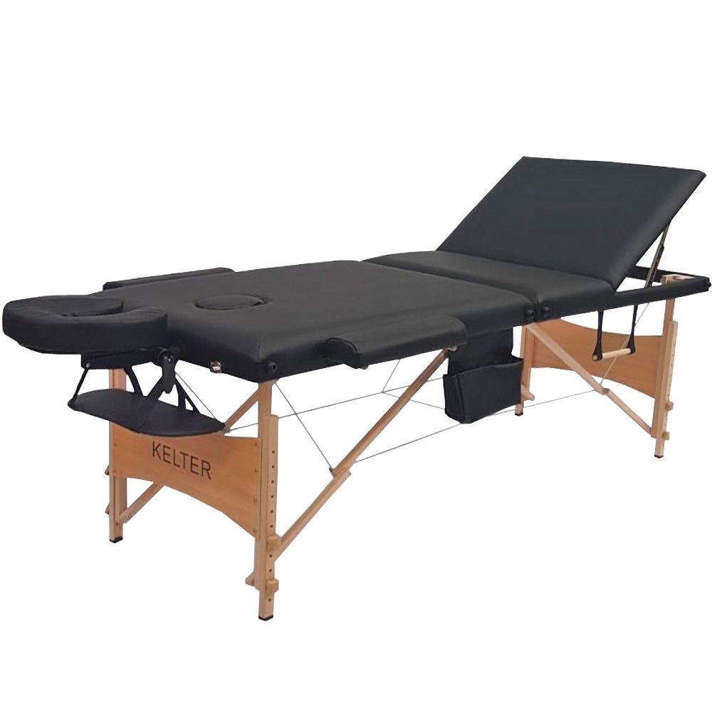 Mesa Maca De Massagem Divã Dobrável Encosto Regulável Preta Kelter K-M112